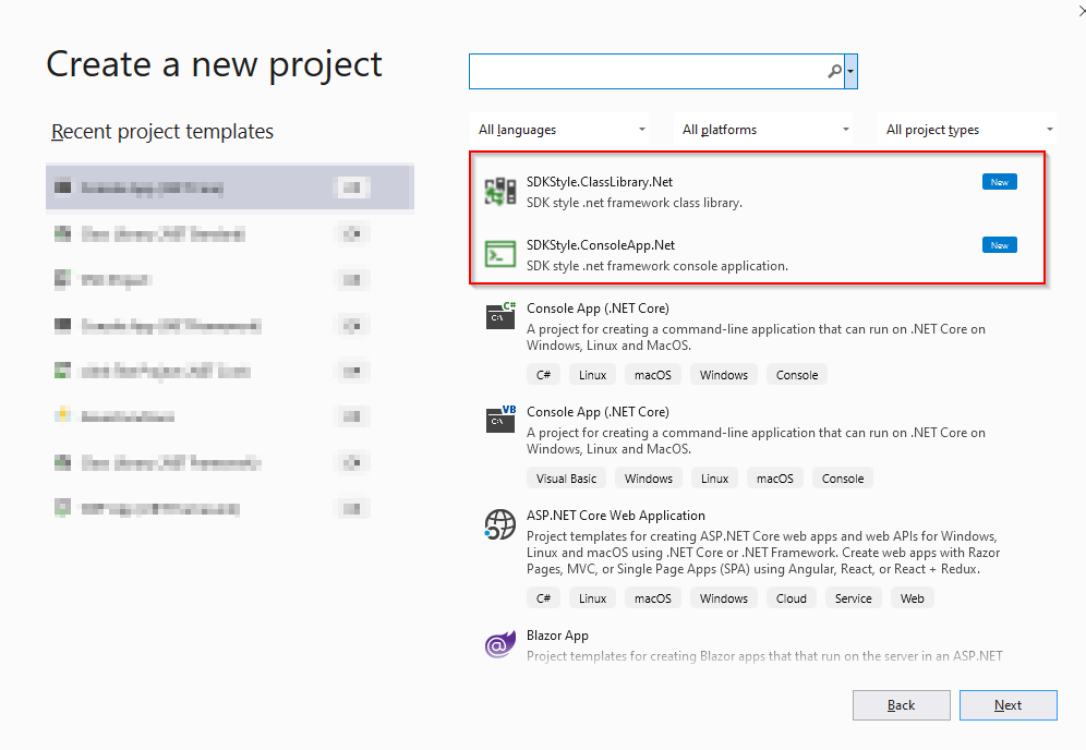 Project templates in VS dialog